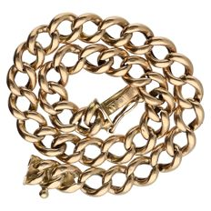 Yellow gold curb link bracelet in 14 kt - 18.5 cm