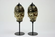 Ferro Lorenzo - 2 x Glass Buddha Black with Gold leaf.