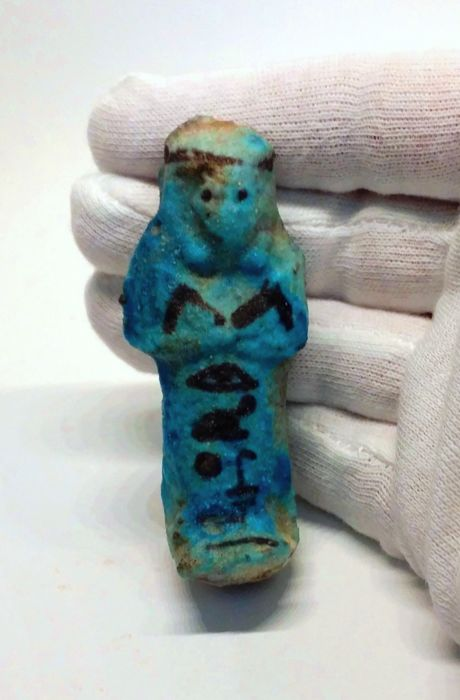 Egyptian Faience shabti ushabti for Khonsu - 7,6 cm