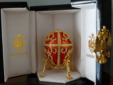 Authentic Fabergé Imperial egg  - private collection - Swarovski rhinestones - 24 k gold finish + COA