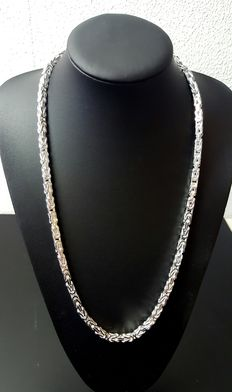 925 silver Byzantine link necklace – length: 70 cm, weight: 137 g