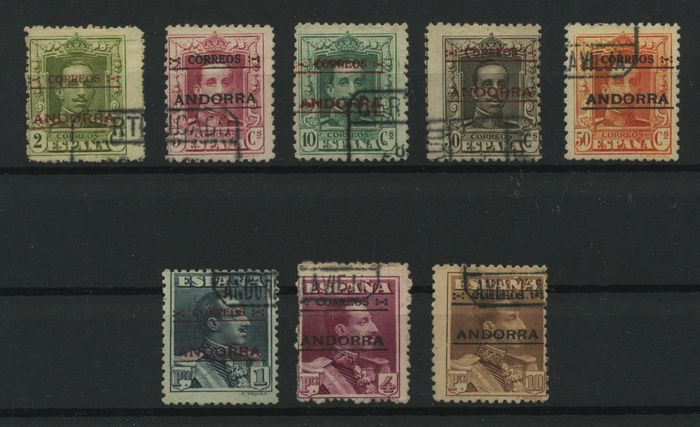 French and Spanish Andorra 1928/1972 - Various values on plug-in cards
