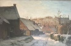 David Schulman(1881-1966) - Winter village scene  Blaricum - large work