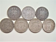 The Netherlands, 1 guilder, 1847-1939, William II of the Netherlands, William III of the Netherlands and Wilhelmina of the Netherlands, (seven coins), silver