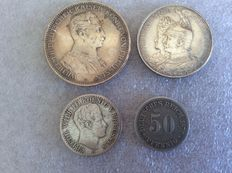 Germany – 4 coins 1823-1914 – Silver