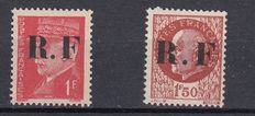 France 1944 - Liberation of Pons - Type I Mayer No4 and 6 complete Type II series - all signed by Mayer (and/or) Calves