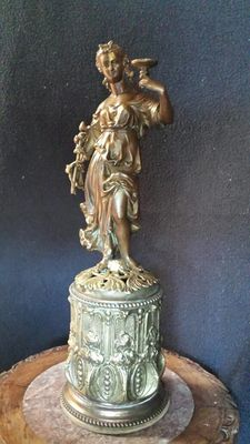 Beautifully executed sculpture of a classical female figure on a large pedestal - France - at the end of the 19th century