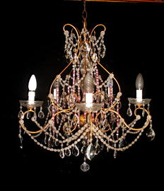 Marie Antoinette style crystal glass chandelier - Italy, early 20th century