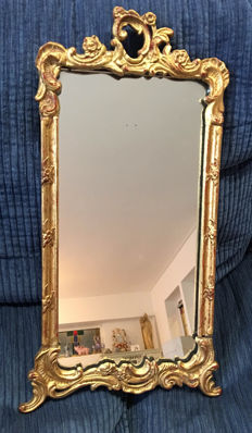 Antique gold-plated French hand-carved baroque mirror, rectangular, early 20th century