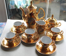 Porcelain mocha or coffee service - gold-plated with antique decor