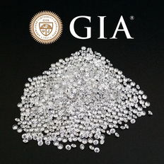 Lot of 470 brilliant cut diamonds, 5.14 ct + 2.43 ct makes a total of 7.57 ct, D-H / VVS-VS GIA