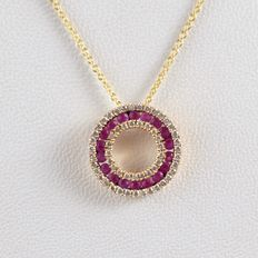Necklace of 18 kt/750, with diamonds of 0.42 ct and rubies of 0.52 ct, 4.00-5.00 g