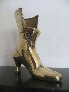 Victorian shoe of brass/copper