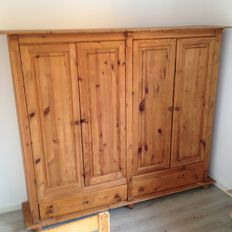 Large pine wardrobe with hanging space and shelves