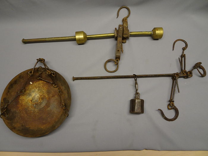 Lot of two stick balances - copper, iron - Netherlands - 19th century -