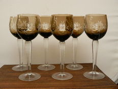 Bohemia - Six finely cut crystal wine glasses, second half 20th century