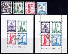 French Zone - Baden 1949 - Reconstruction of Freiburg series - perforated and cut blocks - Michel 38A/41A and block 1A/B