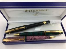 3 Waterman Phileas pens Roller, ball pen and mechanical pencil.   NOS