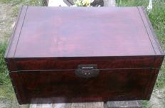 Mahogany black lacquered wooden chest, mid 20th century