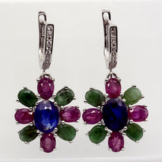 925 silver earrings with ruby, sapphire, and emerald Length: 31 mm.