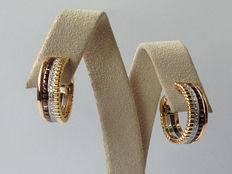 "Boucheron - ""Quatre"" hoop earrings, in yellow, white, pink gold and diamonds - Height: 2 cm, Width: 0.7 cm"