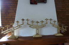 Art Deco - 3 sternly styled brass candlesticks from a church in France - ca. 1920/1930