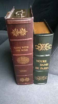 """Two book simulants: """"Gone with the wind, Margaret Mitchell ' and  """"Notre Dame De Paris"""" with painted still life."""