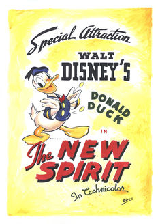 Garrido, Sergio - Original Recreation Art Poster - Donald Duck - The New Spirit - Animated Short Film 1942 (2017)