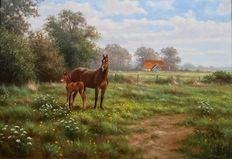 Ron Meilof (1953-2016) - Paard met veulen in de wei (Horse with foal in the Meadow)