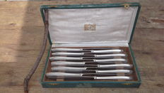 Alfenide / Christofle - Art Deco boxed set of 12 knives