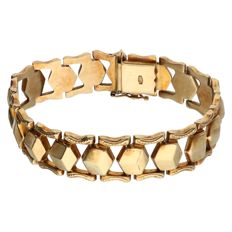 Yellow, 14 kt gold, fantasy link bracelet - length: 16.6 cm.