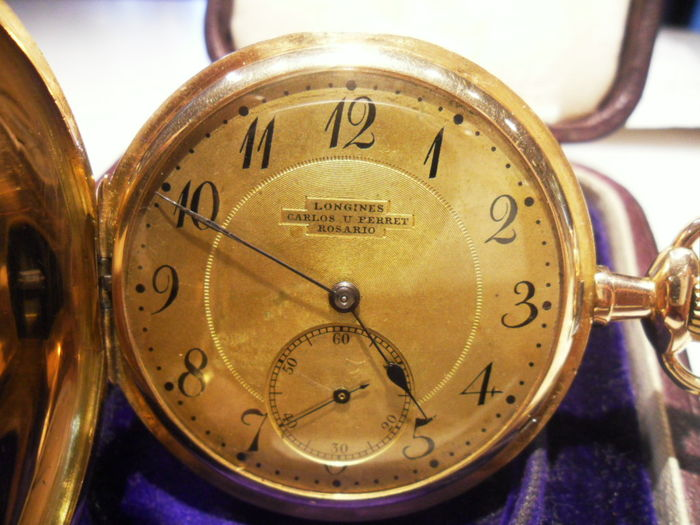 Longines pocket watch -- circa 1902–1903 -- With original case