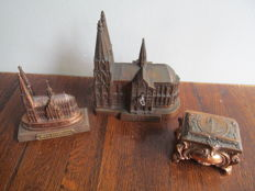 3 bronzed metal church boxes Cologne Cathedral - Germany - ca. 1900