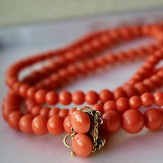 Around 1930, 100% Antique untreated high quality coral very long necklace with natural salmon color beads, no visible growth characters!