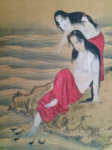 Feet bathing women watching fish, scroll painting - Japan - ca. 1850 (Edo period)