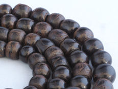 Antique black coral prayer beads strand - Yemen