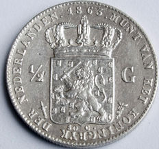 The Netherlands – ½ guilder 1863 Willem III – silver
