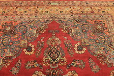 Antique hand-knotted Art Nouveau Persian palace carpet, Mashhad, 250 x 330 cm, made in Iran, signed by the weaver - no reserve