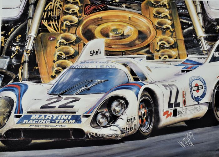 porsche 917k le mans 1971 original lithograph hessel bes the fast emotions 49 5 x 59 cm. Black Bedroom Furniture Sets. Home Design Ideas