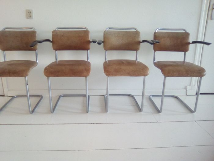 W H Gispen voor Gispen - 4 x model 201 chairs, used for sale