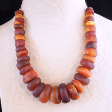 Antique natural amber beads strand - from the African Trade