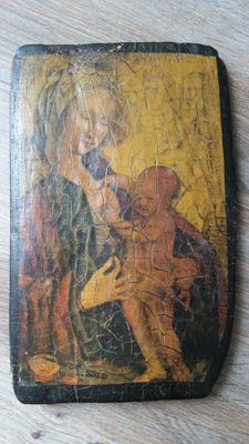 Old icon on wood - Madonna with Child- Late 19th century