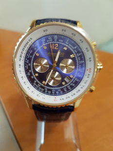 CALVANEO 1583 defcon diamond gold blue – Chronograph with 8 single diamonds and certificate - Men's watch, never worn.