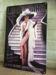 Original Artwork, Lido De Paris Pin-Up, Metal Sign, signed Greg Hildebrandt - 20 century