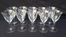 Lot of 10 etched crystal glasses-France-from the second half of the 20th century