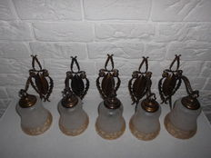 Lot of five old hotel room lights from an old French hotel, with very nice decorated wall plate and beautiful pear shaped shades.