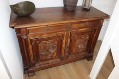 Antique hand-carved hunting cabinet, early 20th century, the Netherlands