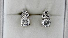 1.82 ct round diamond earrings 14 kt white gold *** NO RESERVE PRICE ***