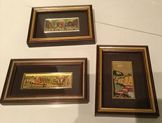 Three small paintings on 22 k gold leaf plating