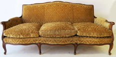 Louis XV style three-seat sofa of walnut - the Netherlands - ca. 1900